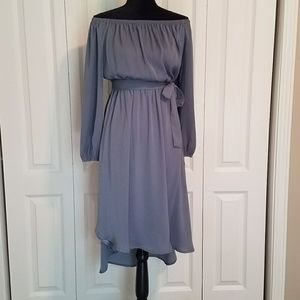 Grey off the shoulders high low dress